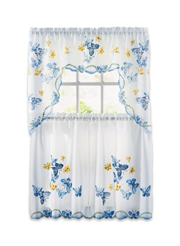- Carol Wright Gifts Butterfly Curtain Set, Blue