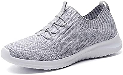 konhill Women's Lightweight Athletic Running Shoes Walking Casual Knit Workout Sneakers, L.Gray, 35