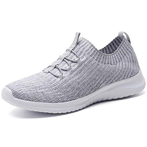 konhill Women's Comfortable Walking Shoes - Tennis Athletic Casual Slip on Sneakers 8.5 US L.Gray,39 ()