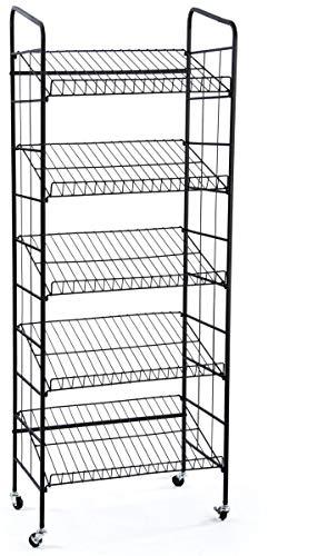 Displays2go BR5GSH24BK Rolling Baker's Display Rack with 5 Angled ()