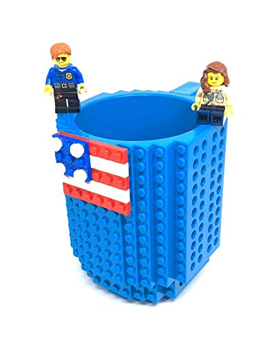 Build on Brick Mug DIY Building Block Compatible Coffee and Tea Creative Cup American Flag Independence 14th July Day Gift Blue]()