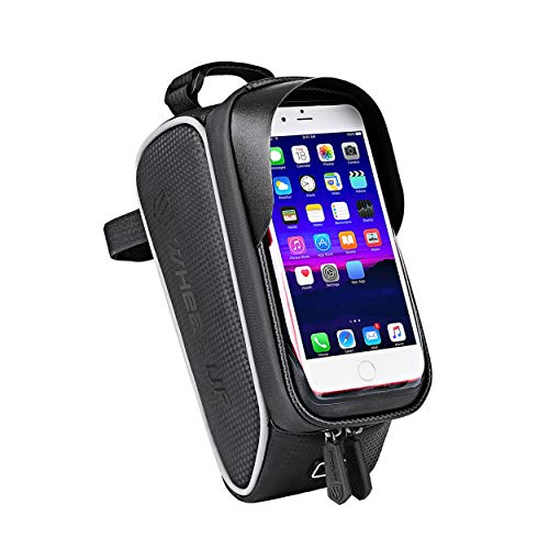 kyosv Bike Phone Bags Waterproof Handlebar Bags with Touch Screen Phone Holder Case Sports Mountain Bicycle Storage Bag Fits iPhone Xs / 8 ,Galaxy S9,etc