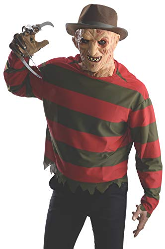 Halloween Costumes Based On Horror Movies (Rubie's 881563-XS Men's Nightmare on Elm St Freddy Krueger Costume Shirt with Mask, X-Small,)