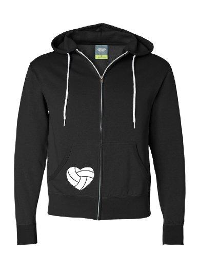 I Love Volleyball Mens Full-Zip Hooded Fleece Sweatshirt