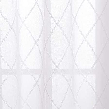 Deconovo Cortinas Visillos para Ventana Cortina Transparente con Ojales para Dormitorio y Sal/ón 2 Piezas 140 x 175 cm Blanco