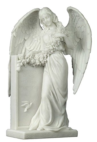 10.38 Inch Weeping Angel Holding Flowers at The Tombstone (Angel Tombstone)