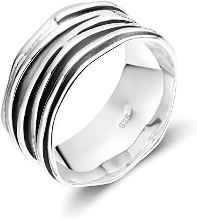 Wide Band Sterling Silver Ripple Ring Satin Brushed Oxidized darkened 10mm