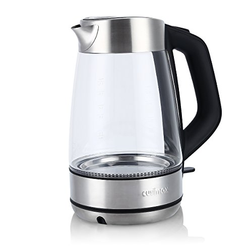 Cusimax 1.7L Electric Kettle Cordless Glass Water Kettle Fast Boiling Tea Kettle with Auto Shut-off & Boil-dry Protection LED Light Water Heater Boiler BPA-free