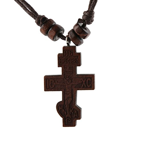 HZMAN Olive Wood Russian Orthodox Cross Crucifix Pendant Necklace ICXC