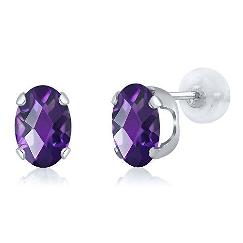 2.00 Ct Oval Checkerboard 8x6mm Purple Amethyst 14K White Gold Stud Earrings (Amethyst Gold White Earrings)