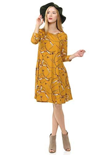 (iconic luxe Women's Trapeze Swing Dress Small Chain Print Mustard)