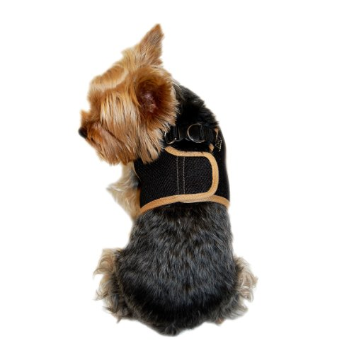 Anima Black Mesh Jersey with Beige Trim Harness and Leash Set, X-Small, My Pet Supplies