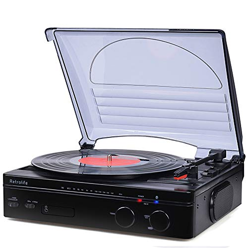 Record Player Bluetooth Turntable with Stereo Speakers Portable Belt-Driven Nostalgic LP Vinyl Record Player with FM Stereo Radio Line Output Headphone Jack Natural Wood Design 2019 Upgraded