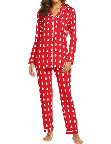 Ekouaer Women's Christmas Sleepwear Long Sleeve Pajamas Set(Red with Snowman,S) (Pajama Set Snowman)