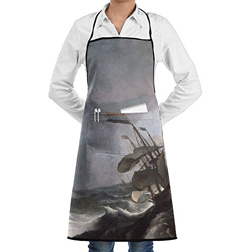 LCZ Dutch Warships Stormy Waters Fashion Waterproof Durable Apron With Pockets For Women Men Chef -