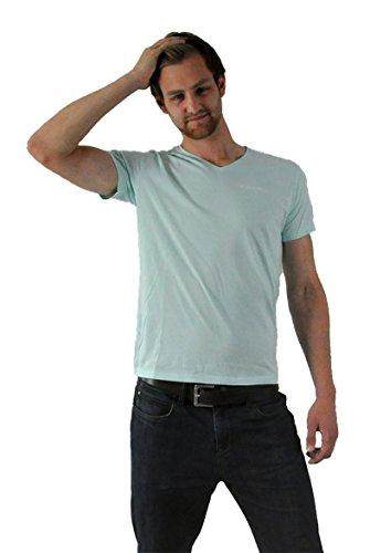 """Human Family - Fair Trade T-Shirt aus 100% Bio-Baumwolle """"Chill Basic"""" in hellblau - für Männer mit kleinem V-Ausschnitt"""