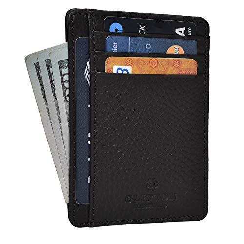 RFID Front Pocket Slim Wallets for Men - Genuine Leather Minimalist Credit Card Holder By Clifton Heritage