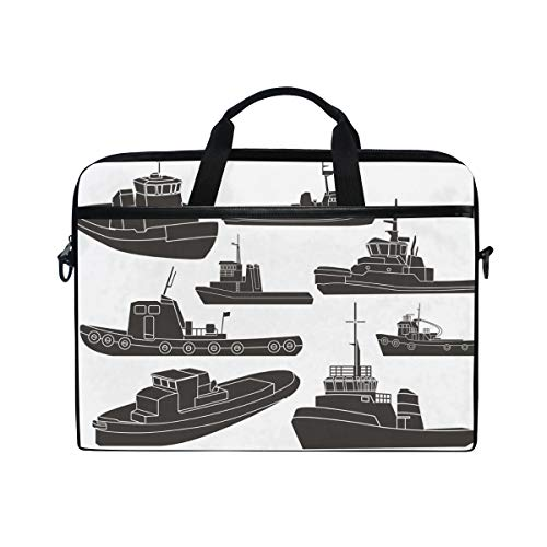 Black and White Tugboat Clipart Multifunctional Laptop Briefcase Tablet Bag Tote Computer Case Handbag Pouch for Men Women ()