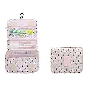 Itraveller Hanging Toiletry Bag-Portable Travel Organizer Cosmetic Make up Bag case for Women Men Shaving Kit with Hanging Hook for vacation (Pink Cactus)