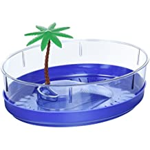 Lee's Deluxe Turtle Lagoon, Oval w/Tray and Plant, 11-Inch by 8-1/2-Inch by 3-1/4-Inch