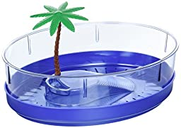 Lee\'s Deluxe Turtle Lagoon, Oval w/Tray and Plant, 11-Inch by 8-1/2-Inch by 3-1/4-Inch