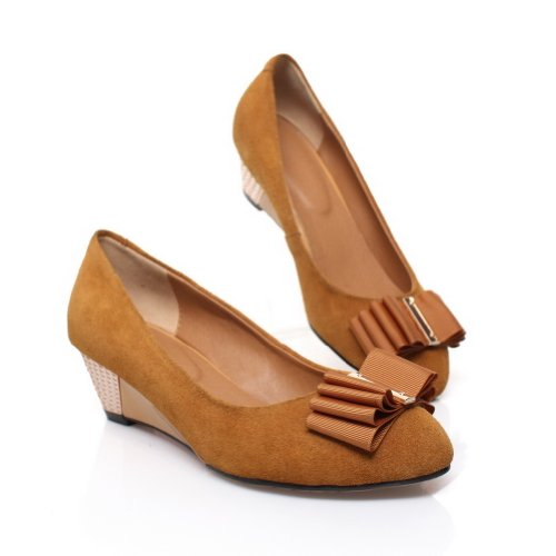 AmoonyFashion Womens Closed Round Toe Mid Heel Frosted Leather Solid Pumps with Bowknot apricot Ofbhm2I