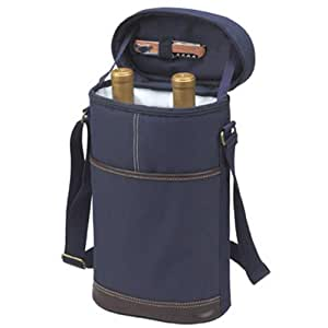 Picnic at Ascot - Insulated 2 Bottle Travel Wine Tote with Corkscrew & Shoulder Strap - Navy