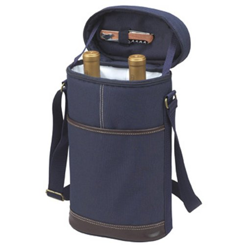Picnic at Ascot - Insulated 2 Bottle Travel Wine Tote with Corkscrew & Shoulder Strap - - Wine Cooler Burgundy