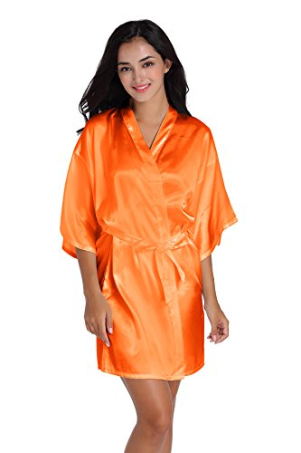 SIMJOY Women's Satin Short Kimono Robe Plain Dressing Gown Bathrobe Bridal Party Robe, Orange, Small -