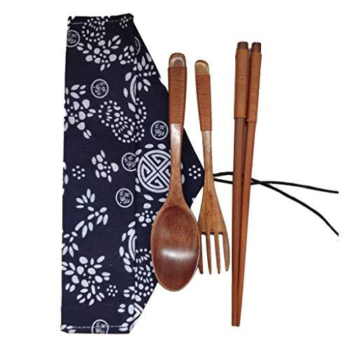 FORESTIME Japanese Wooden Chopsticks Spoon Fork Tableware 3pcs Set New Gift (Gold, one) ()