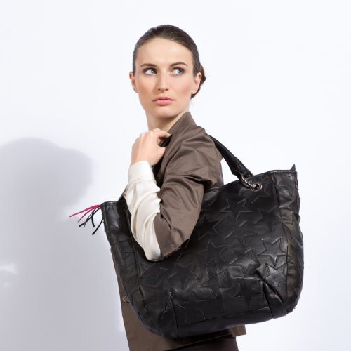 épaule avec sac main noir sac Noir FEYNSINN® des femme WILLOW dames à cuir sac véritable grand sangle sac porté sac wASz1