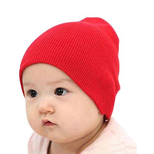 Price comparison product image OVERMAL Baby Beanie Boy Girls Soft Hat Children Winter Warm Kids Cap (Red)