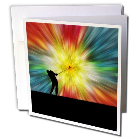 3dRose Colorful Tie Dye Silhouette Golfer Driving - Greeting Card, 6