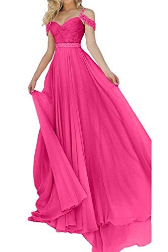 Pink Linie Neu A Weiss Damen Langes Lang Abendkleider Festlich Charmant Partykleider Chiffon Rock Ballkleider wHgUxq