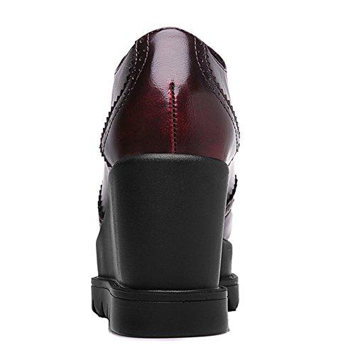 U-mac Womens Ticker Botten Sneakers Plattform Rund Tå Chic Bekväm Promenadskor Röd