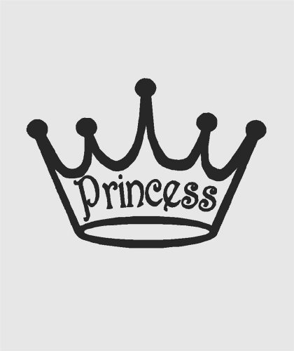 Princess Crown Clipart (Sihouette of Girls Disney Princess Royal Crown Tiara Clip Art Picture Decal - Peel & Stick Sticker - Vinyl Wall Art Design Size : 10 Inches X 20 Inches -)