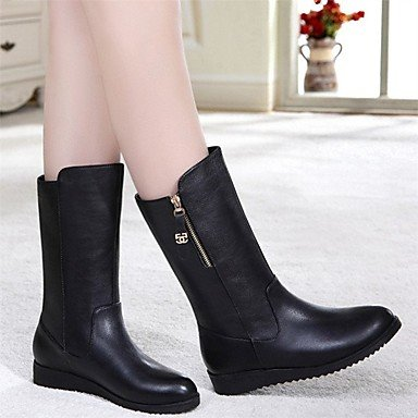 occasionnels Talon Feather PU Hiver Bottes Mary Black de Jane pwSxBWXZvq