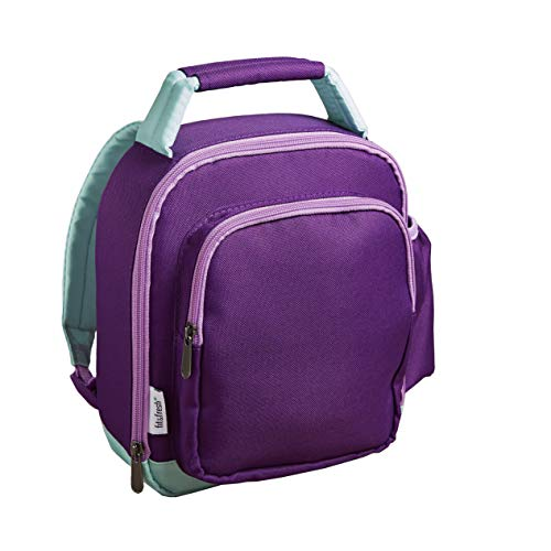 (Fit & Fresh Mini Lunch Backpack, Insulated with Side Drink Pocket and Front Zippered Pocket, Purple & Teal)