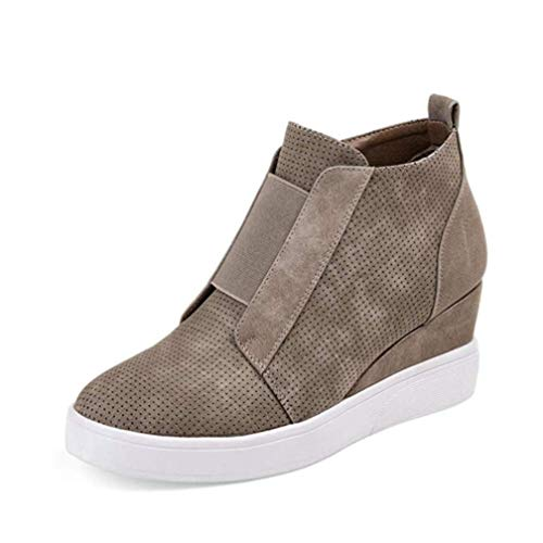 ChyJoey Women's Fashion Wedge Ankle Bootie Round Toe Zipper Platform Flat Sneakers Shoes Retro Short Boots Khaki