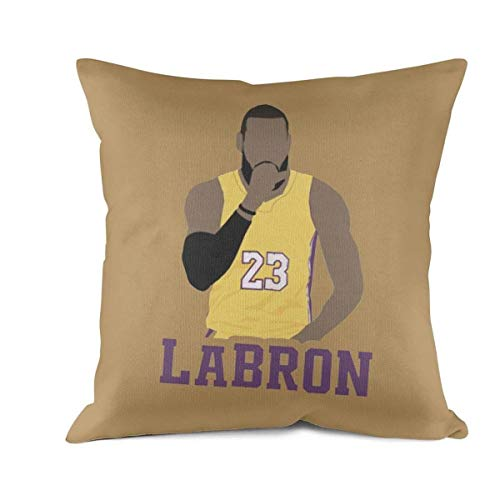 FPFLY 18x18 Inch Square Throw Pillow Cushion Covers Cotton Home Life LaBron-23-King-Player- Pillowcase