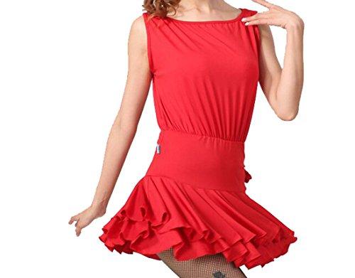 Vita Gonne Cha Da Sala Ballo Senza Cha Del Gonna Seta Da Di Tessuti Rosso Ballo Latino Vestito Maniche Latte 4A7wqIF
