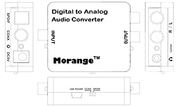 Morange DAC02 Digital to Analog Audio Converter With 3.5mm Jack Support Headphone and 6ft Optical Toslink Cable - 192kHz/24bit Optical and Coaxial DAC