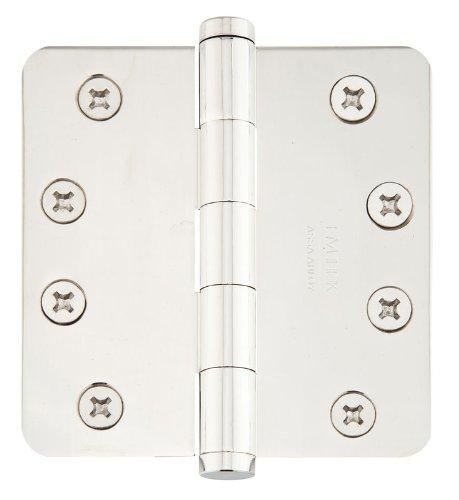 Emtek 96225 4.5'' x 4.5'' Solid Brass 1/4'' Radius Corner Plain Bearing Mortise Hin, Polished Nickel