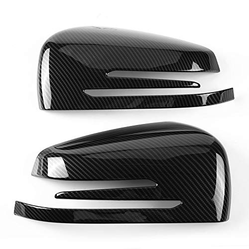 1 Pair Carbon Fiber Wing Mirror Covers Car Side Mirror Cover Caps Rear View Mirror Cover Trim for Mercedes Benz A B C E GLA Class W204 W212