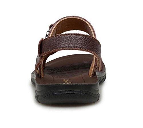 spiaggia 38 a 43 Sandali Scarpe da antiscivolo toe da EU42 Pantofole casual da infradito taglia open NSLXIE in vera uomo pelle estate nUH8RHqfwc