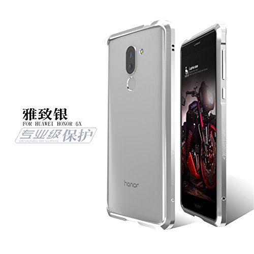 Aluminum Metal Frame Back Cover Case for Huawei Honor 6X (Silver) - 4