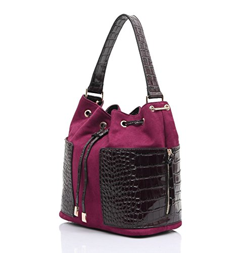 Siena Tote-Shaped Bucket Shoulder Bag (Crocodile Print Patent Bag)