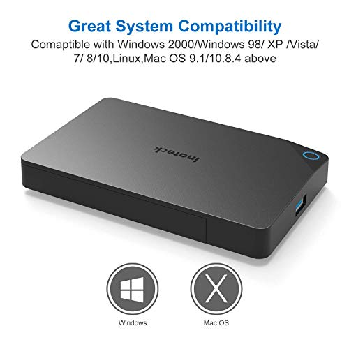 Inateck USB 3.0 to SATA Hard Drive Enclosure External HDD Enclosure fit 9.5mm/7mm 2.5 Inch SATA HDDs/SSDs, Support UASP and Optimised for SSD, Tool Free (FE2013) by Inateck (Image #4)