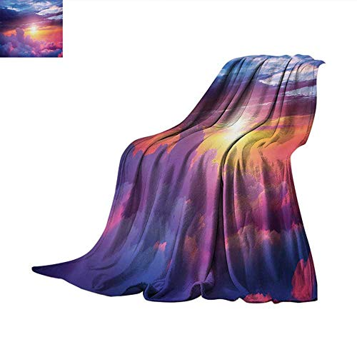 (Landscape Weave Pattern Blanket Sunset Scene with Sky and Clouds with Vibrant Colors and Shadows Print Summer Quilt Comforter 80