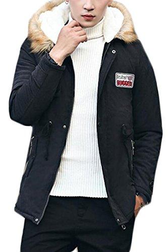 Mens today Warm UK Collar Winter Outwear Black Faux Jacket Winter Hooded Fur 11Uq6w4